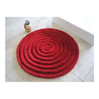 Covoraș de baie Confetti Bathmats Ecru, Ø 90 cm, roșu imagine