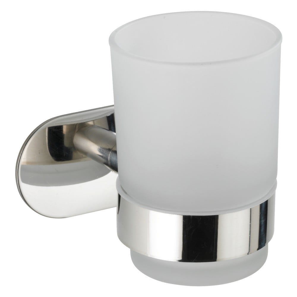Bílý nástěnný kelímek na kartáčky s držákem z nerezové oceli Wenko Uno Bosio Turbo-Loc®