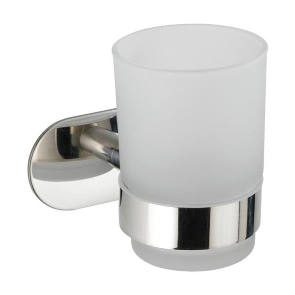Recipient de perete pentru periuțe de dinți cu suport din oțel inoxidabil Wenko Uno Bosio Turbo-Loc®, alb