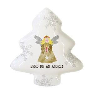 Dekorativní tác z kostního porcelánu s vánočním motivem PPD Send Me An Angel, 19,5 x 23 cm
