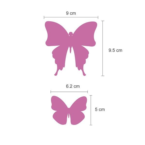 Trojrozměrné samolepky motýlků, zrcadlová růžová