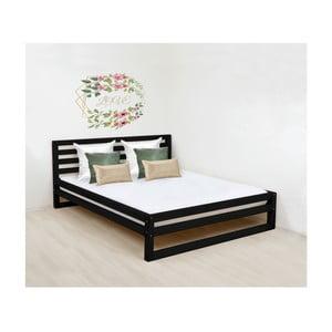 Černá dřevěná dvoulůžková postel Benlemi DeLuxe, 200x190cm