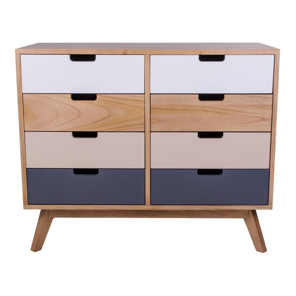Fotografie Barevná dřevěná komoda s 8 zásuvkami House Nordic Milano