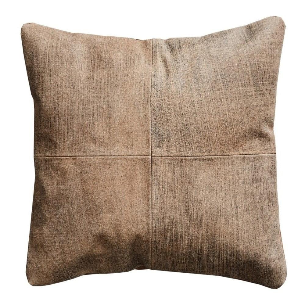 Světle hnědý kožený polštář Fuhrhome Ankara, 45 x 45 cm