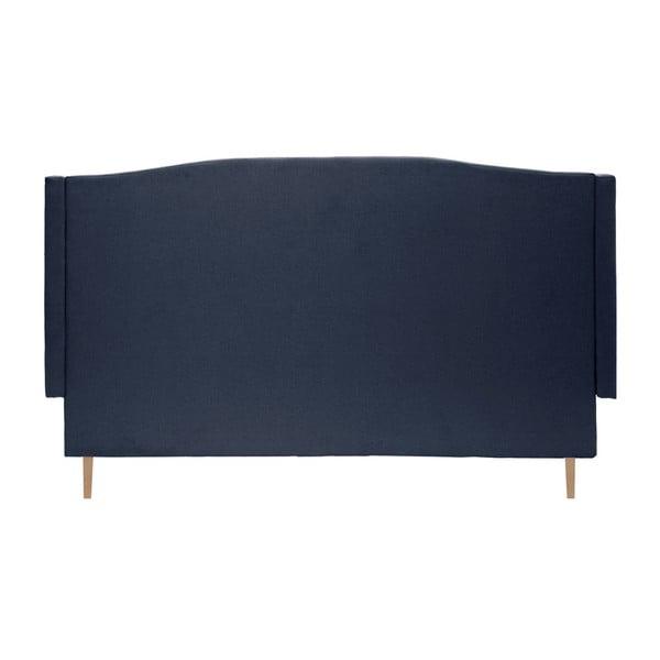 Tmavě modrá postel s přírodními nohami Vivonita Windsor, 160x200cm