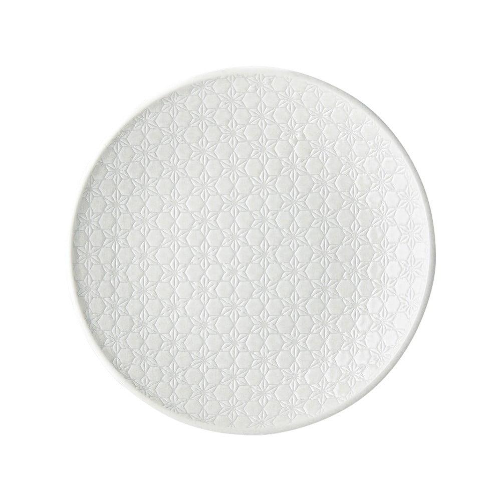 Bílý keramický talíř MIJ Star, ø25 cm