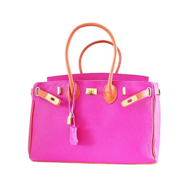 Kožená kabelka Dolce Birk Fuxia/Arancio