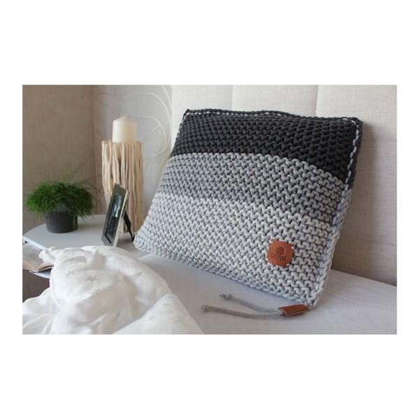 Pletený polštář Catness, šedé pruhy, 50x50 cm