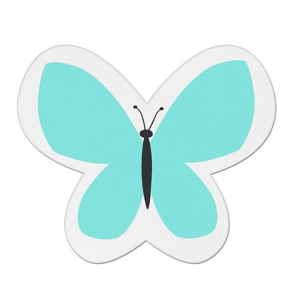 Modrý dětský polštářek s příměsí bavlny Apolena Pillow Toy Butterfly, 26 x 30 cm