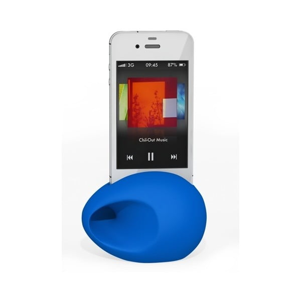 Stojan a zesilovač iEgg na iPhone 4/4S, modrý