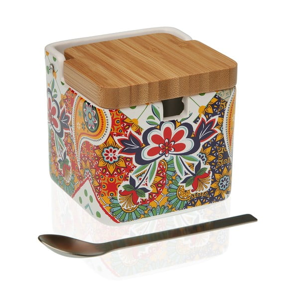 Dóza na cukr s bambusovým víčkem a lžičkou Versa Giardino