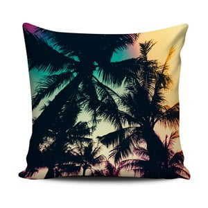 Tmavý polštář Home de Bleu Tropical Palms, 43x43cm