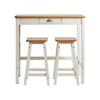 Masă tip bar cu 2 scaune din lemn masiv de pin Marckeric Caya, alb imagine