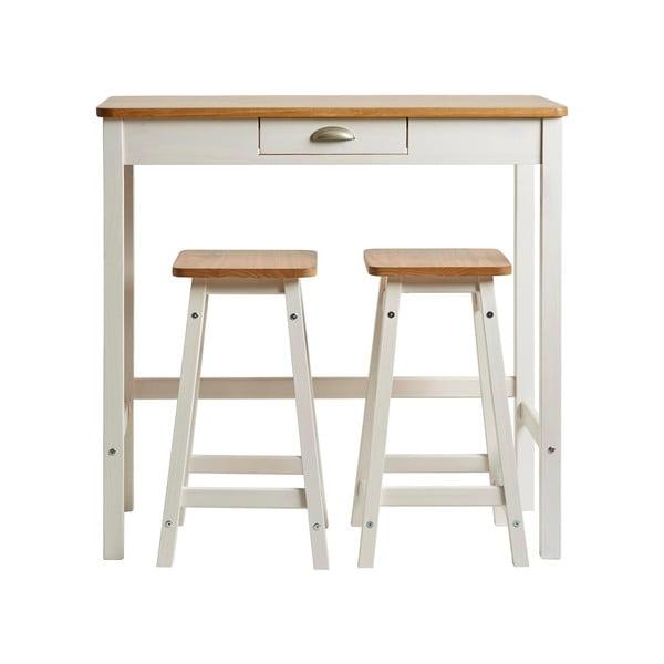 Masă tip bar cu 2 scaune din lemn masiv de pin Marckeric Caya, alb