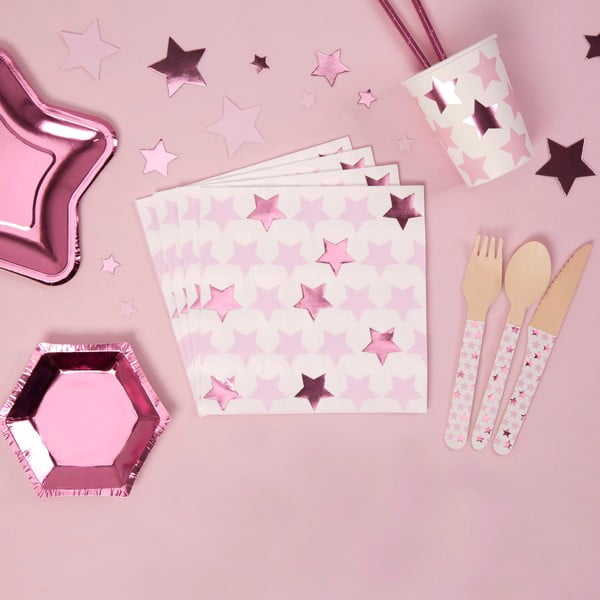 Zestaw 16 serwetek Neviti Little Star Pink