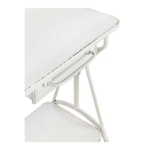 Măsuță auxiliară din metal se šuplíkem Geese Industrial Style, alb
