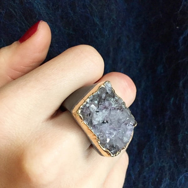 Prsten z ametystové drúzy Decadorn, vel. S