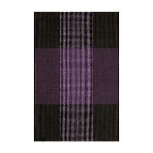 Fialovo-černý ručně tkaný vlněný koberec Linie Design Bologna, 90x160cm