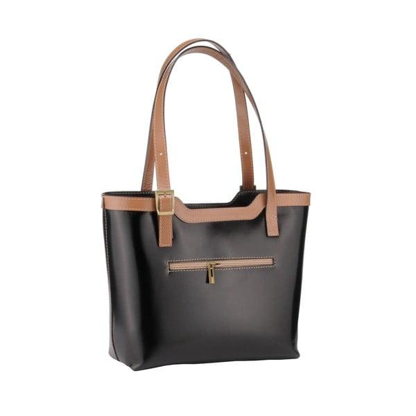 Kožená kabelka Emilio Masi Zosma, béžová/černá