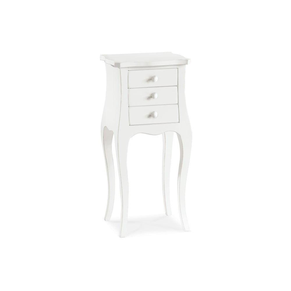 Bílý dřevěný odkládací stolek se 3 zásuvkami Castagnetti Corinne