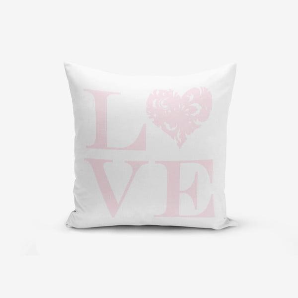 Poszewka na poduszkę z domieszką bawełny Minimalist Cushion Covers Love Pink, 45x45 cm