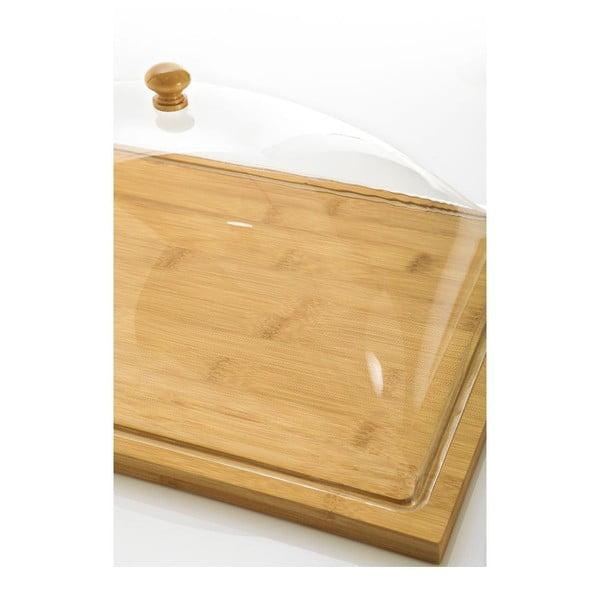 Bambusový podnos s plastovým poklopem Bambum Almendro, 37,5 x 27 cm