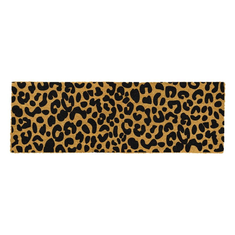 Černá rohožka z přírodního kokosového vlákna Artsy Doormats Leopard, 120x40cm