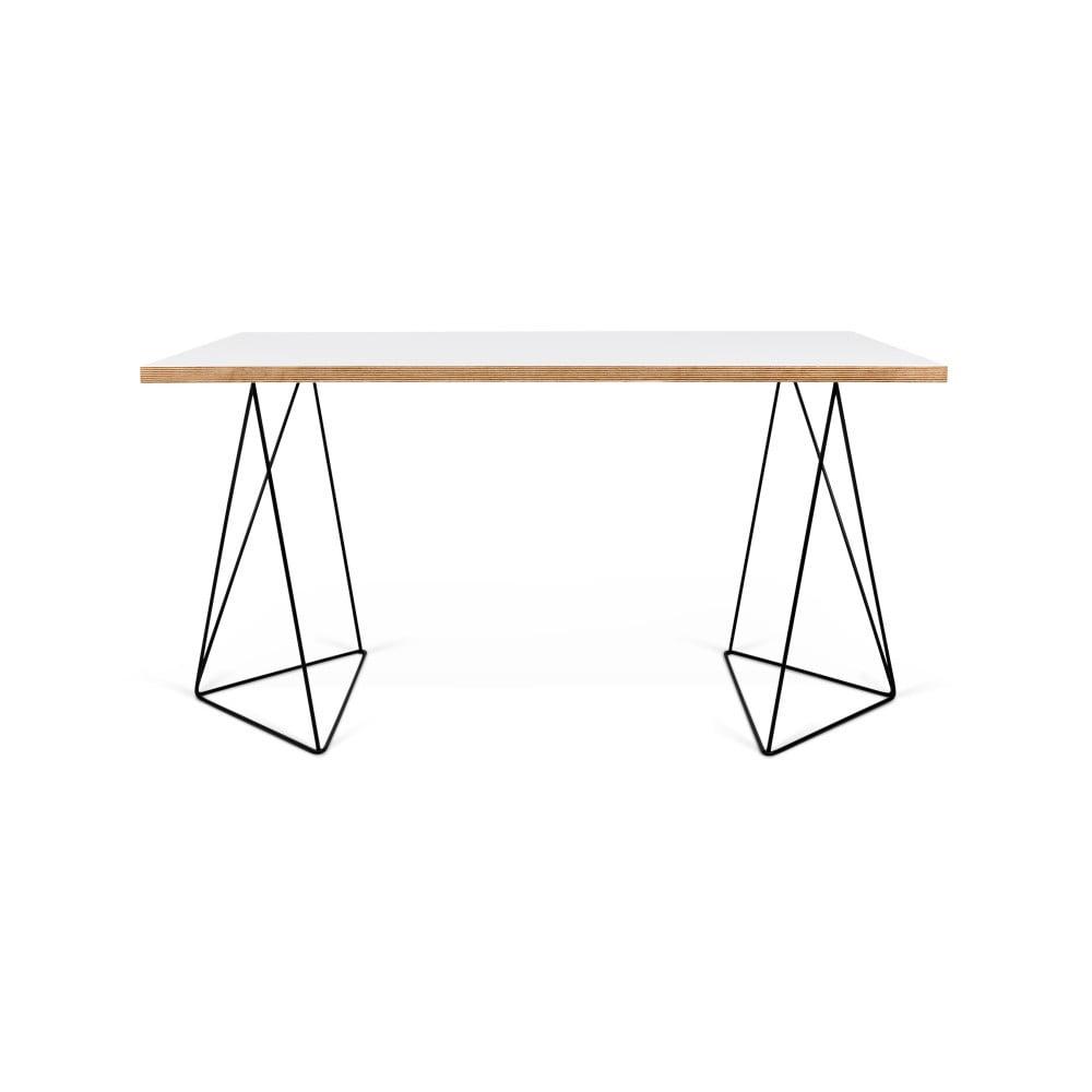 Bílý pracovní stůl s černými nohami TemaHome Flow, 75 x 140 cm