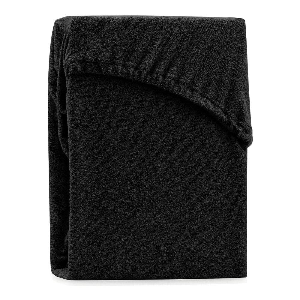 Černé elastické prostěradlo na dvoulůžko AmeliaHome Ruby Siesta, 200/220 x 200 cm