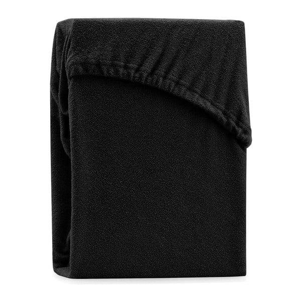 Czarne elastyczne prześcieradło dwuosobowe AmeliaHome Ruby Black, 200-220x200 cm
