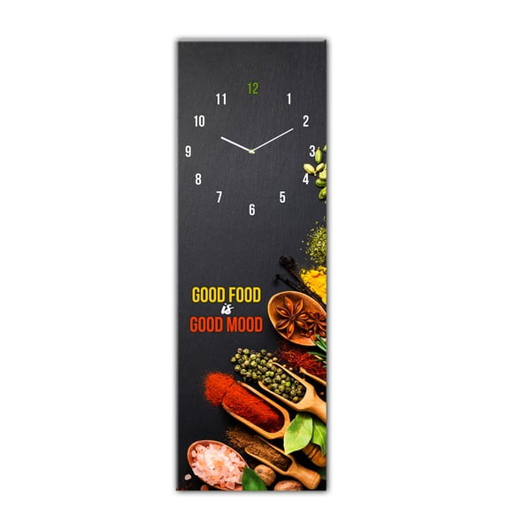 Ceas de perete din sticlă Styler Good Food, 20 x 60 cm