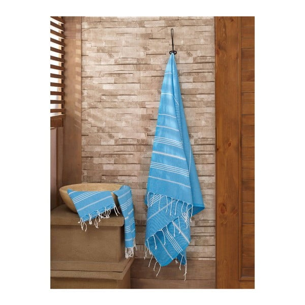 Sada světle modrého ručníku a osušky Hammam Sultan