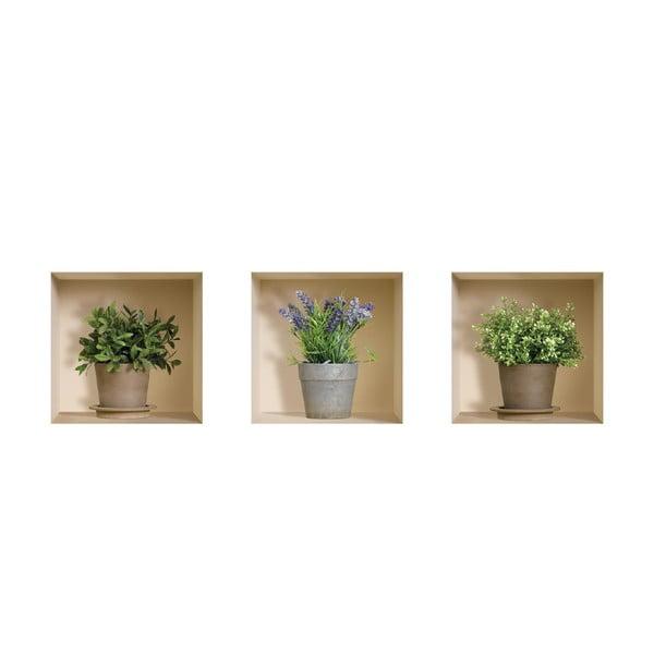 3D samolepky na zeď Nisha Pots de fleurs