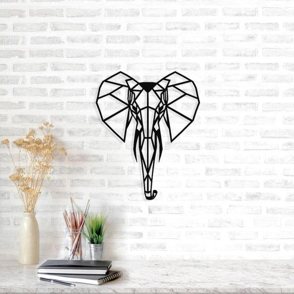 Černá kovová nástěnná dekorace Elephant, 40 x 49 cm