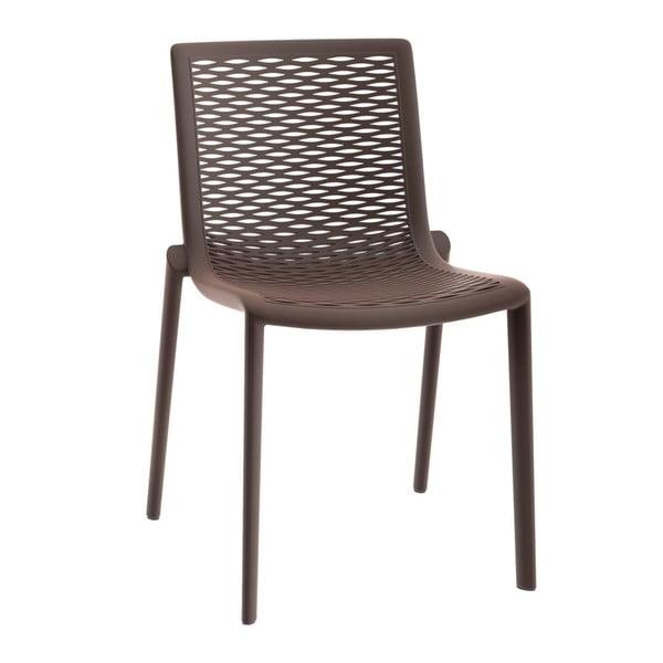 Sada 2 čokoládově hnědých zahradních jídelních židlí Resol Net-Kat