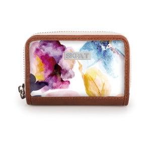 Bílá peněženka s barevnými květy na mince SKPA-T, 10 x 7cm