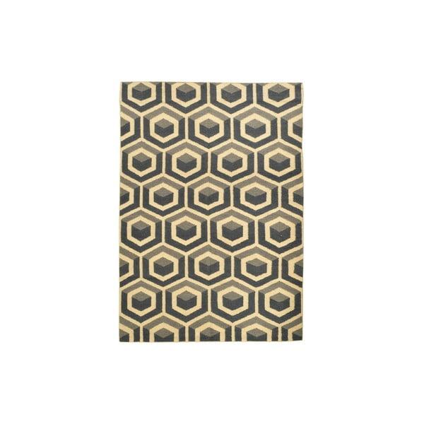 Ručně tkaný koberec Grey Cubes Kilim, 154x212 cm