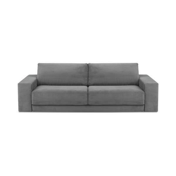 Szara sztruksowa 3-osobowa sofa rozkładana Milo Casa Donatella