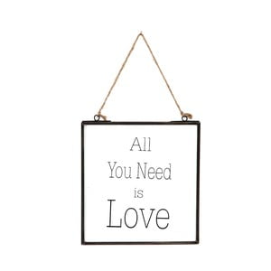 Skleněná tabulka s nápisem All You Need, 20x22 cm