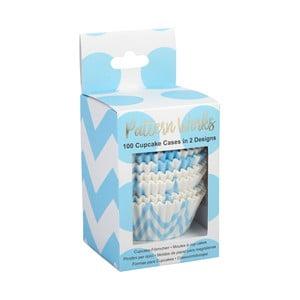 Sada 100 modrých košíčků na muffiny Neviti Pattern Works Zig