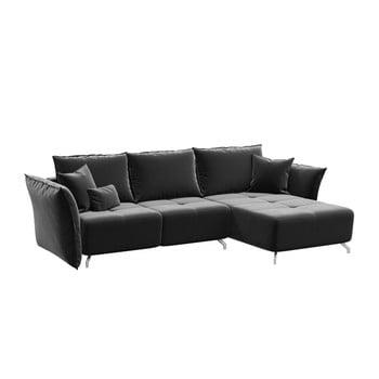 Canapea extensibilă cu șezlong pe partea dreaptă Hermes gri închis