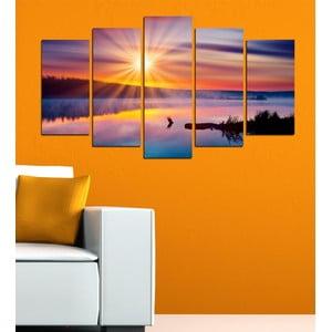 5dílný obraz Slunce nad jezerem