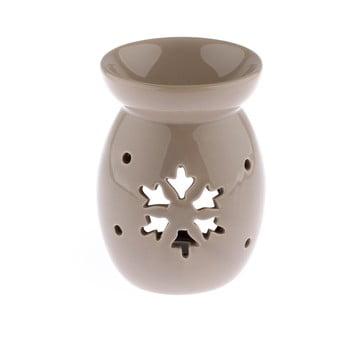 Lampă aromaterapie din ceramică cu model de fulg de nea Dakls, bej, înălțime 14 cm imagine