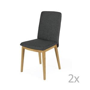 Set 2 scaune, structură din lemn de stejar Woodman Adra Dark Half
