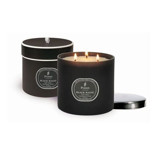Lumânare Magic Candles, 80 de ore de ardere, aromă paciuli, cedru și vetiver