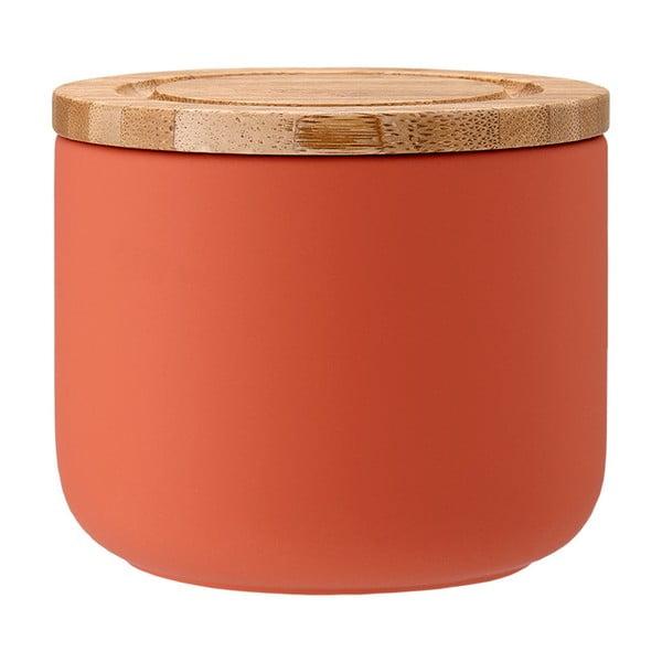 Oranžová keramická dóza s bambusovým víkem Ladelle Stak, výška 9 cm