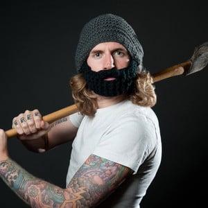Căciulă cu barbă detașabilă, Beardo Original, gri-negru