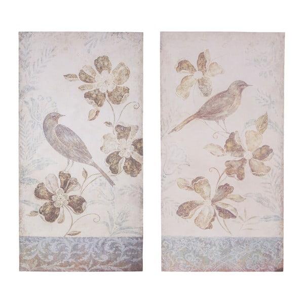 Sada 2 dekoratívnych tabuliek Antic Line Birdy