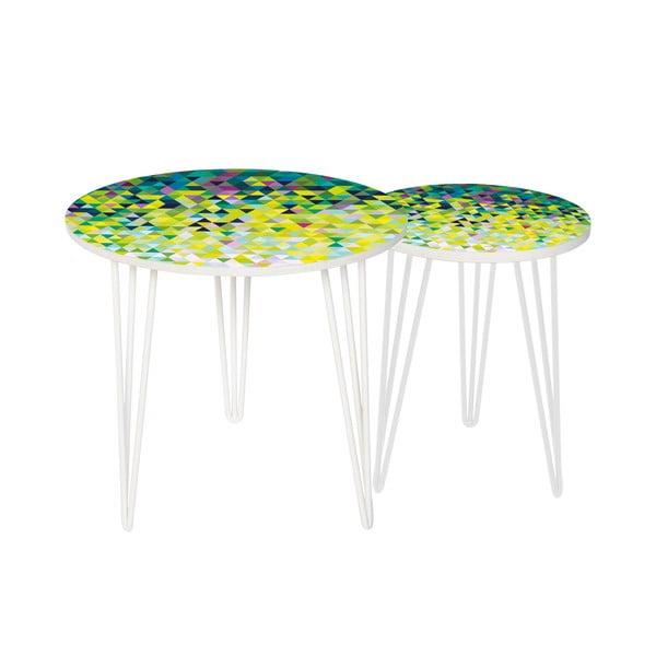 Sada 2 odkládacích stolků Abstract Meadow, 35 cm + 49 cm