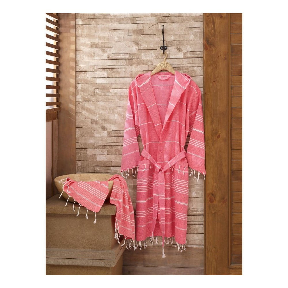 Fotografie Set růžového županu a ručníku Sultan, vel. S/M